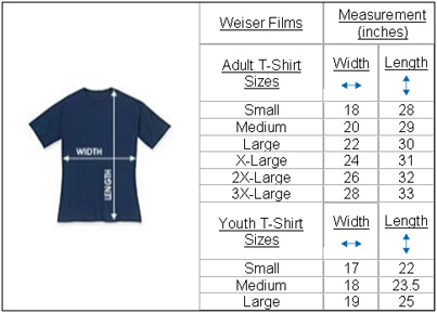 Shirts measurements chart