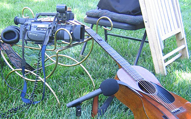 Weiser still life, guitar, camera and microphone, photo