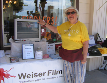 Weiser Films Volunteer Mary Lehman at Weiser Classic Candies, photo